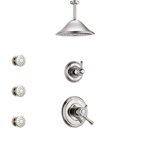 Delta Cassidy Polished Nickel Finish Shower System with Dual Control Handle, 3-Setting Diverter, Ceiling Mount Showerhead, and 3 Body Sprays SS1797PN4