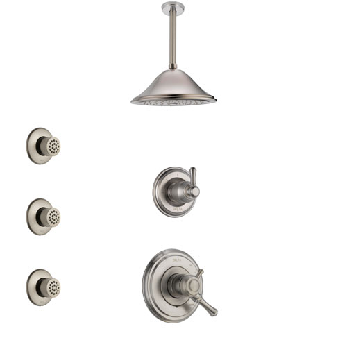 Delta Cassidy Stainless Steel Finish Shower System with Dual Control Handle, 3-Setting Diverter, Ceiling Mount Showerhead, and 3 Body Sprays SS1797SS4