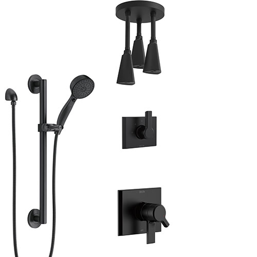 Delta Pivotal Matte Black Finish Dual Control Shower System with Triple Pendant Ceiling Mount Showerhead and Hand Sprayer with Grab Bar SS17993BL10