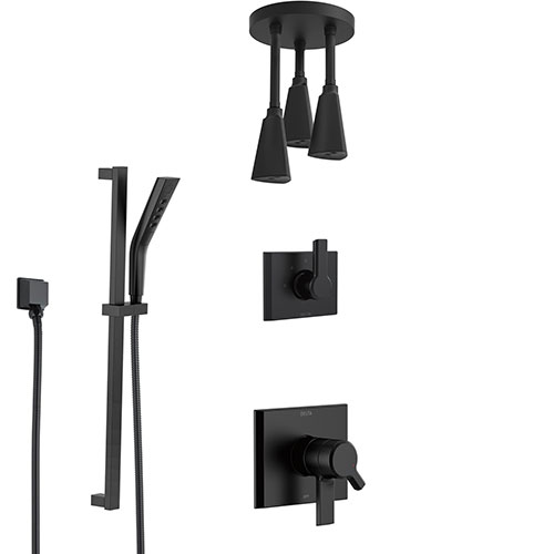 Delta Pivotal Matte Black Finish Dual Control Shower System with Triple Pendant Ceiling Mount Showerhead and Hand Sprayer with Slidebar SS17993BL11
