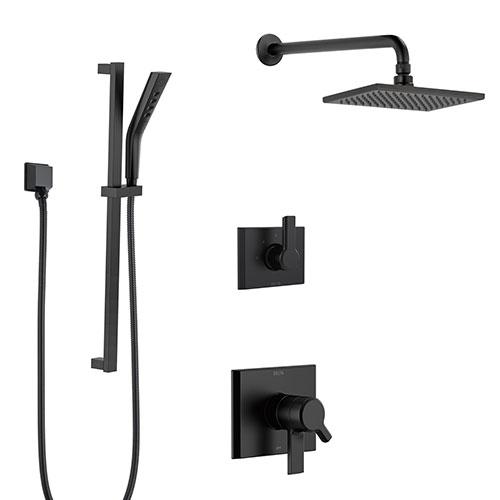 Delta Pivotal Matte Black Finish Modern Shower Diverter System with Wall Mount Rain Showerhead and Slidebar with Hand Sprayer SS17993BL4