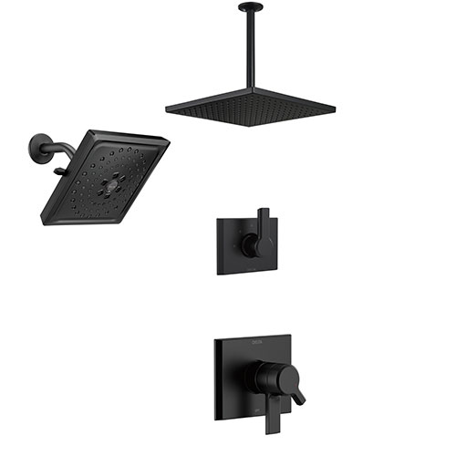 Delta Pivotal Matte Black Finish Multi Shower System with Diverter, Large Rain Ceiling Mounted Showerhead and Modern Wall Showerhead SS17993BL7