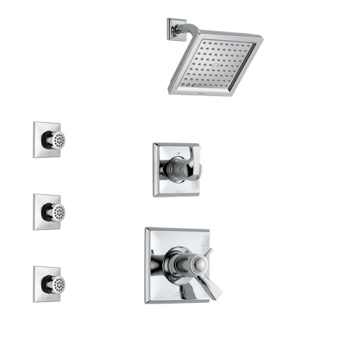 Delta Dryden Chrome Finish Shower System with Dual Thermostatic Control Handle, 3-Setting Diverter, Showerhead, and 3 Body Sprays SS17T25111