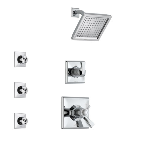 Delta Dryden Chrome Finish Shower System with Dual Thermostatic Control Handle, 3-Setting Diverter, Showerhead, and 3 Body Sprays SS17T25112
