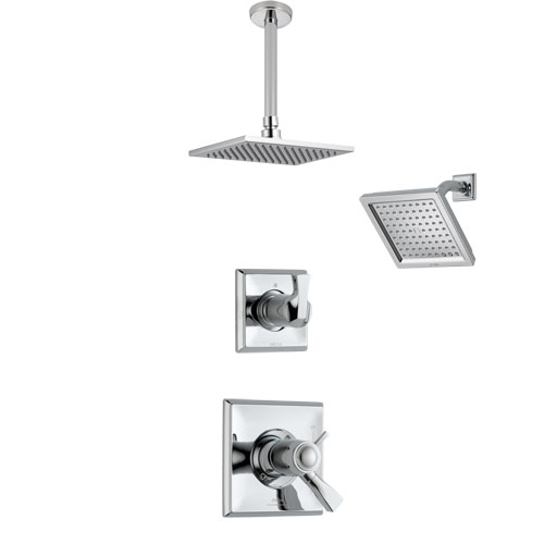 Delta Dryden Chrome Finish Shower System with Dual Thermostatic Control Handle, Diverter, Showerhead, and Ceiling Mount Showerhead SS17T25113