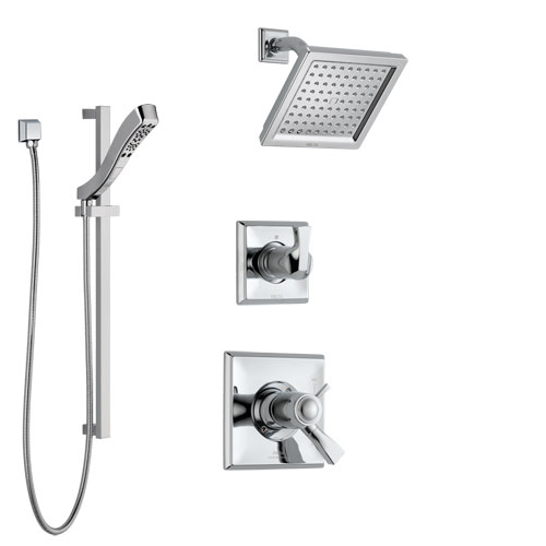 Delta Dryden Chrome Finish Shower System with Dual Thermostatic Control Handle, Diverter, Showerhead, and Hand Shower with Slidebar SS17T25116