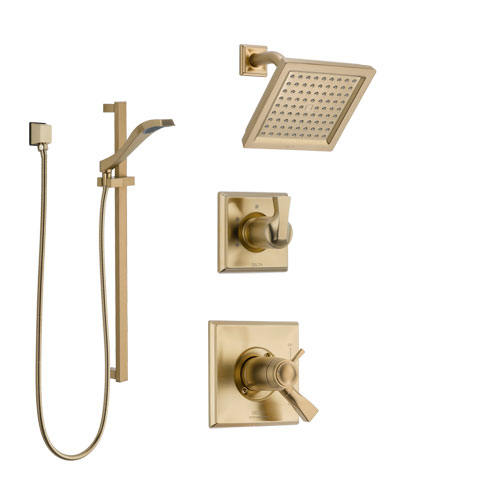 Delta Dryden Champagne Bronze Shower System with Dual Thermostatic Control Handle, Diverter, Showerhead, and Hand Shower with Slidebar SS17T2511CZ2