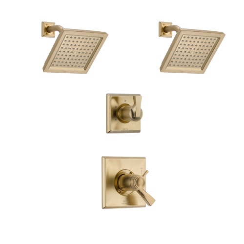 Delta Dryden Champagne Bronze Finish Shower System with Dual Thermostatic Control Handle, 3-Setting Diverter, 2 Showerheads SS17T2511CZ4