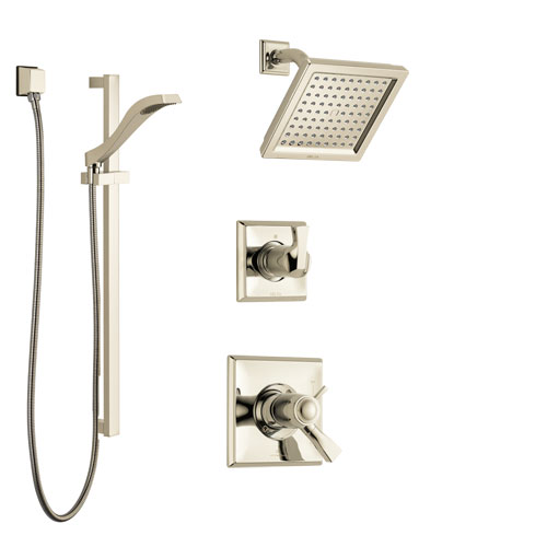 Delta Dryden Polished Nickel Shower System with Dual Thermostatic Control Handle, Diverter, Showerhead, and Hand Shower with Slidebar SS17T2511PN2