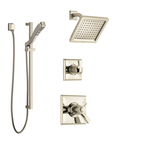 Delta Dryden Polished Nickel Shower System with Dual Thermostatic Control Handle, Diverter, Showerhead, and Hand Shower with Slidebar SS17T2511PN3