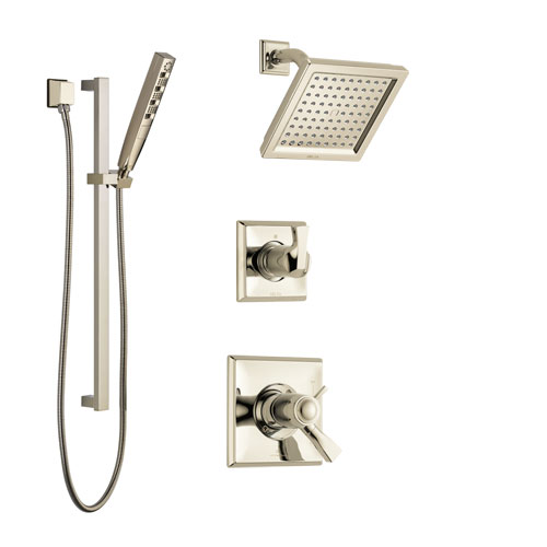 Delta Dryden Polished Nickel Shower System with Dual Thermostatic Control Handle, Diverter, Showerhead, and Hand Shower with Slidebar SS17T2511PN5