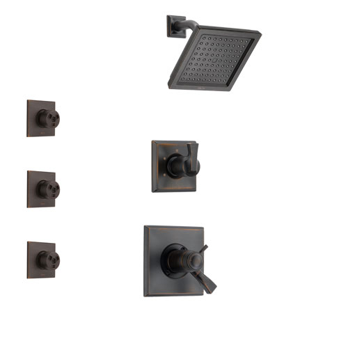 Delta Dryden Venetian Bronze Shower System with Dual Thermostatic Control Handle, 3-Setting Diverter, Showerhead, and 3 Body Sprays SS17T2511RB1