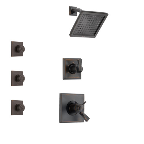 Delta Dryden Venetian Bronze Shower System with Dual Thermostatic Control Handle, 3-Setting Diverter, Showerhead, and 3 Body Sprays SS17T2511RB2
