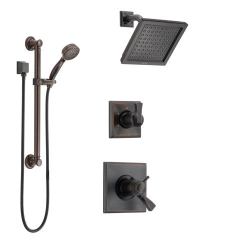 Delta Dryden Venetian Bronze Shower System with Dual Thermostatic Control Handle, Diverter, Showerhead, and Hand Shower with Grab Bar SS17T2511RB3