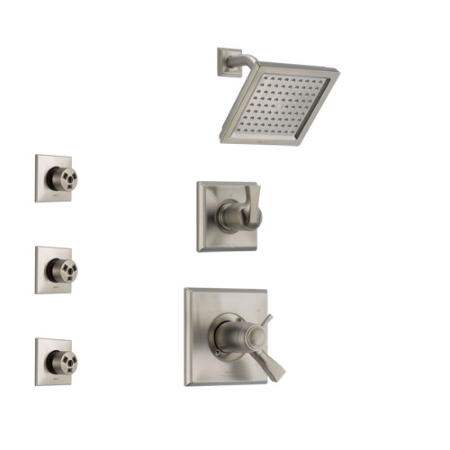 Delta Dryden Dual Thermostatic Control Handle Stainless Steel Finish Shower System, 3-Setting Diverter, Showerhead, and 3 Body Sprays SS17T2511SS1