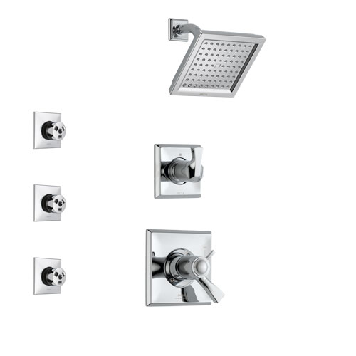 Delta Dryden Chrome Finish Shower System with Dual Thermostatic Control Handle, 3-Setting Diverter, Showerhead, and 3 Body Sprays SS17T25122