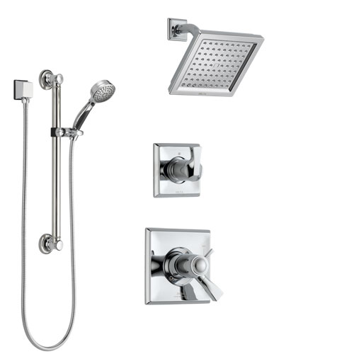 Delta Dryden Chrome Finish Shower System with Dual Thermostatic Control Handle, Diverter, Showerhead, and Hand Shower with Grab Bar SS17T25123