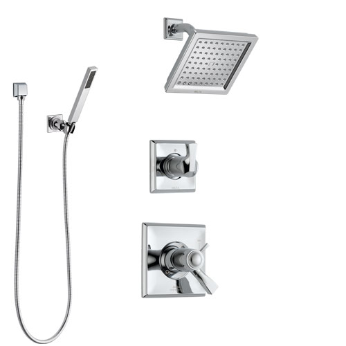 Delta Dryden Chrome Finish Shower System with Dual Thermostatic Control Handle, Diverter, Showerhead, and Hand Shower with Wall Bracket SS17T25124