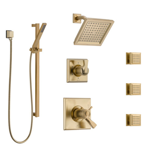 Delta Dryden Champagne Bronze Shower System with Dual Thermostatic Control, Diverter, Showerhead, 3 Body Sprays, and Hand Shower SS17T2512CZ1