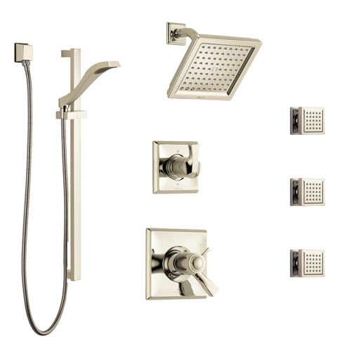 Delta Dryden Polished Nickel Shower System with Dual Thermostatic Control, 6-Setting Diverter, Showerhead, 3 Body Sprays, and Hand Shower SS17T2512PN1