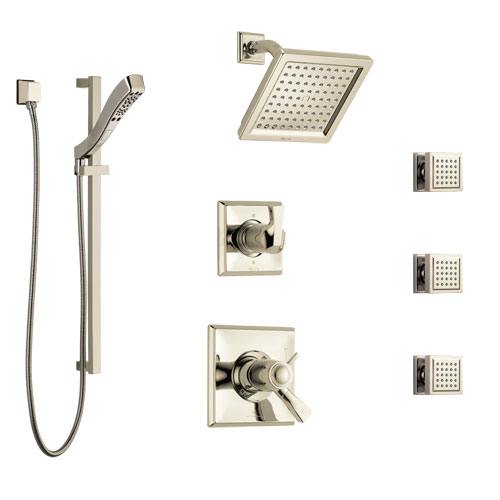 Delta Dryden Polished Nickel Shower System with Dual Thermostatic Control, 6-Setting Diverter, Showerhead, 3 Body Sprays, and Hand Shower SS17T2512PN2