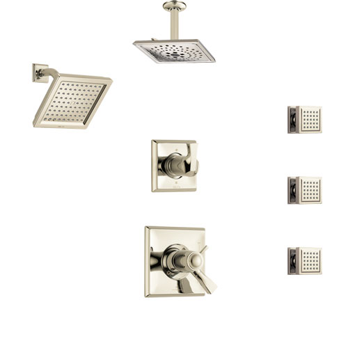Delta Dryden Polished Nickel Shower System with Dual Thermostatic Control, Diverter, Showerhead, Ceiling Showerhead, and 3 Body Sprays SS17T2512PN4