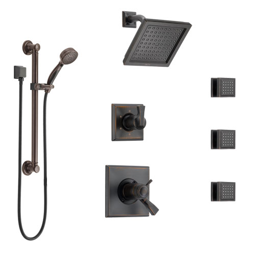 Delta Dryden Venetian Bronze Shower System with Dual Thermostatic Control, Diverter, Showerhead, 3 Body Sprays, and Grab Bar Hand Shower SS17T2512RB1