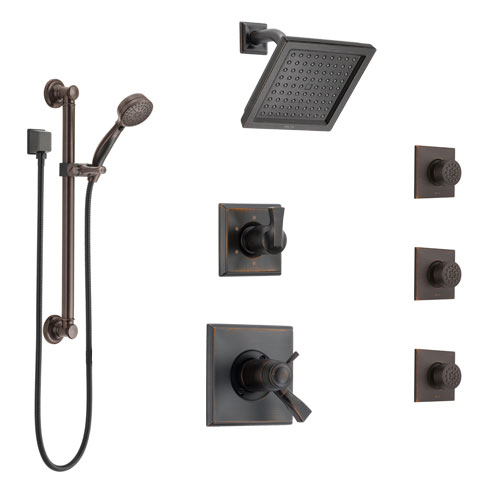 Delta Dryden Venetian Bronze Shower System with Dual Thermostatic Control, Diverter, Showerhead, 3 Body Sprays, and Grab Bar Hand Shower SS17T2512RB3