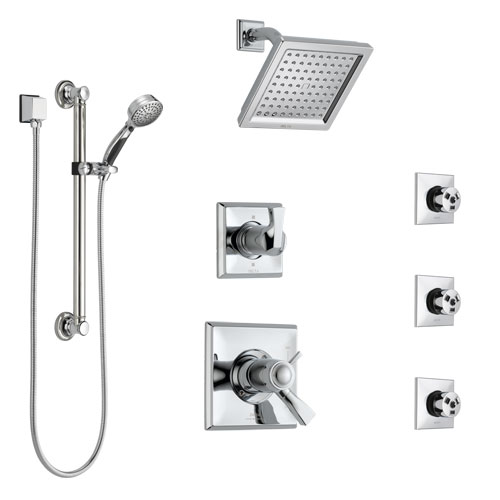 Delta Dryden Chrome Shower System with Dual Thermostatic Control, Diverter, Showerhead, 3 Body Sprays, and Hand Shower with Grab Bar SS17T25142