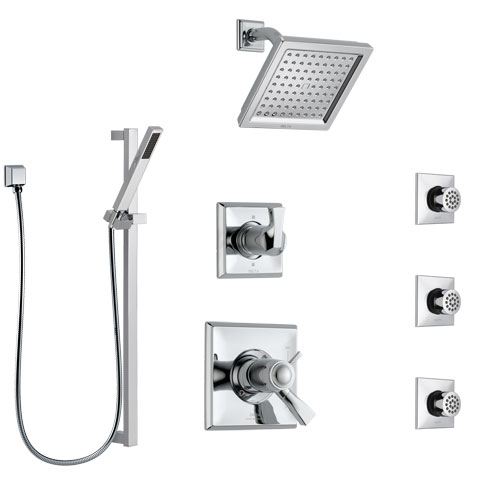 Delta Dryden Chrome Shower System with Dual Thermostatic Control Handle, 6-Setting Diverter, Showerhead, 3 Body Sprays, and Hand Shower SS17T25144