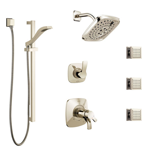 Delta Tesla Polished Nickel Shower System with Dual Thermostatic Control, 6-Setting Diverter, Showerhead, 3 Body Sprays, and Hand Shower SS17T2521PN2