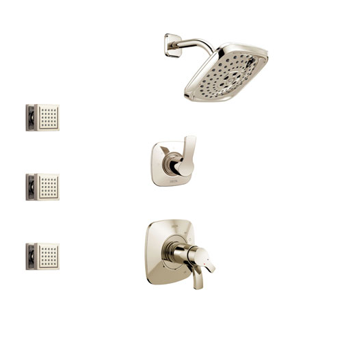 Delta Tesla Polished Nickel Finish Shower System with Dual Thermostatic Control Handle, 3-Setting Diverter, Showerhead, and 3 Body Sprays SS17T2522PN1