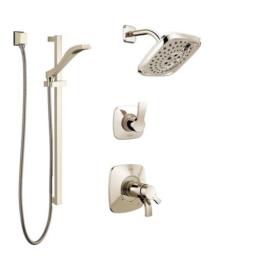 Delta Tesla Polished Nickel Shower System with Dual Thermostatic Control Handle, Diverter, Showerhead, and Hand Shower with Slidebar SS17T2522PN3