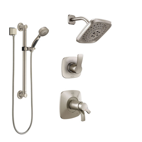 Delta Tesla Dual Thermostatic Control Handle Stainless Steel Finish Shower System, Diverter, Showerhead, and Hand Shower with Grab Bar SS17T2522SS3