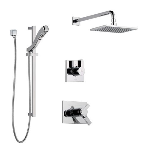 Delta Vero Chrome Finish Shower System with Dual Thermostatic Control Handle, 3-Setting Diverter, Showerhead, and Hand Shower with Slidebar SS17T25314