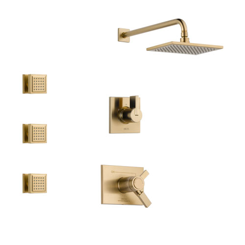 Delta Vero Champagne Bronze Finish Shower System with Dual Thermostatic Control Handle, 3-Setting Diverter, Showerhead, and 3 Body Sprays SS17T2531CZ1