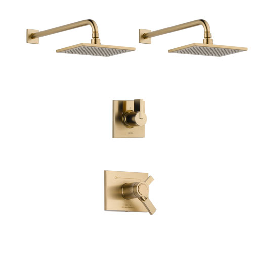 Delta Vero Champagne Bronze Finish Shower System with Dual Thermostatic Control Handle, 3-Setting Diverter, 2 Showerheads SS17T2531CZ4