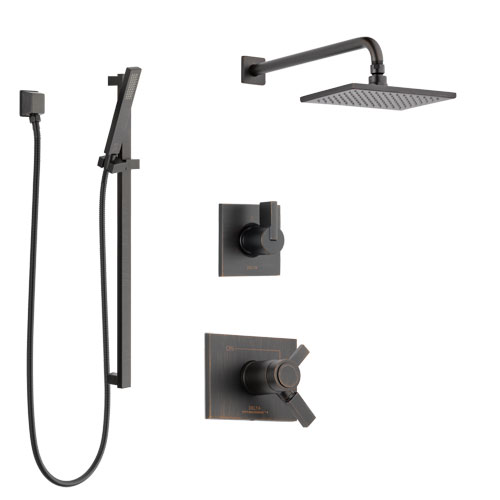 Delta Vero Venetian Bronze Shower System with Dual Thermostatic Control Handle, Diverter, Showerhead, and Hand Shower with Slidebar SS17T2531RB4