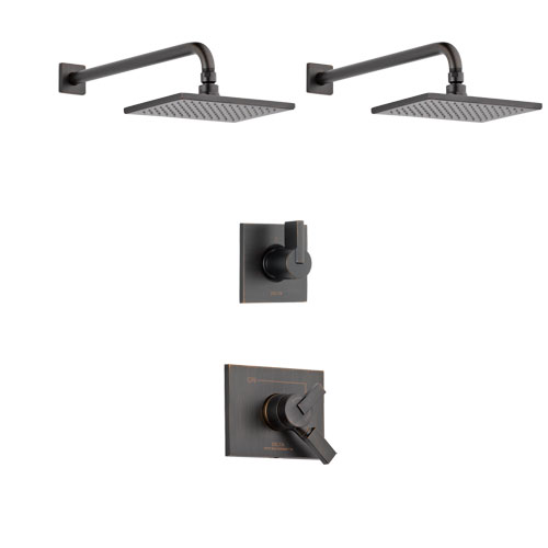 Delta Vero Venetian Bronze Finish Shower System with Dual Thermostatic Control Handle, 3-Setting Diverter, 2 Showerheads SS17T2531RB6