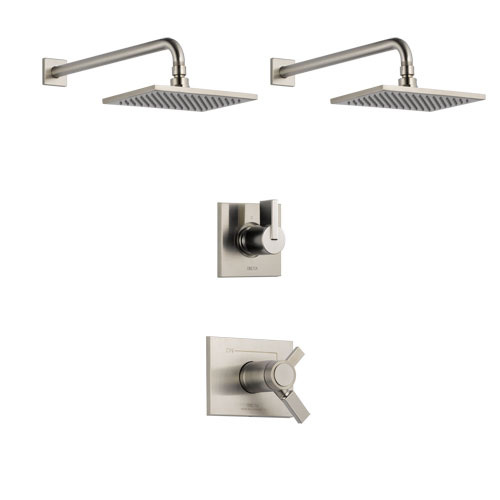 Delta Vero Stainless Steel Finish Shower System with Dual Thermostatic Control Handle, 3-Setting Diverter, 2 Showerheads SS17T2531SS5