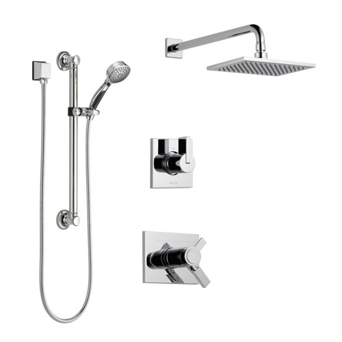 Delta Vero Chrome Finish Shower System with Dual Thermostatic Control Handle, 3-Setting Diverter, Showerhead, and Hand Shower with Grab Bar SS17T25323