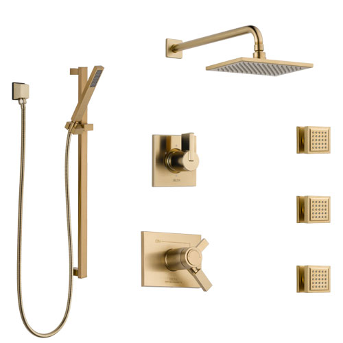 Delta Vero Champagne Bronze Shower System with Dual Thermostatic Control, 6-Setting Diverter, Showerhead, 3 Body Sprays, and Hand Shower SS17T2532CZ1