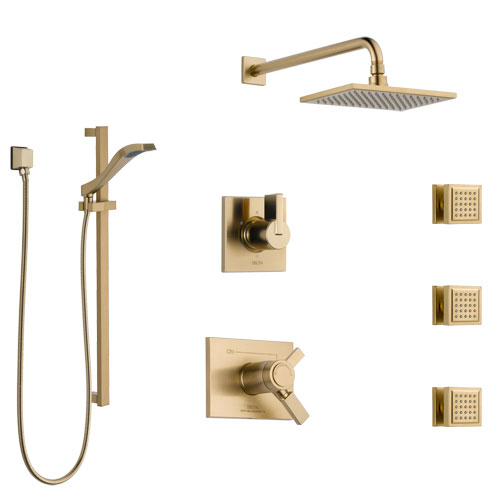 Delta Vero Champagne Bronze Shower System with Dual Thermostatic Control, 6-Setting Diverter, Showerhead, 3 Body Sprays, and Hand Shower SS17T2532CZ2