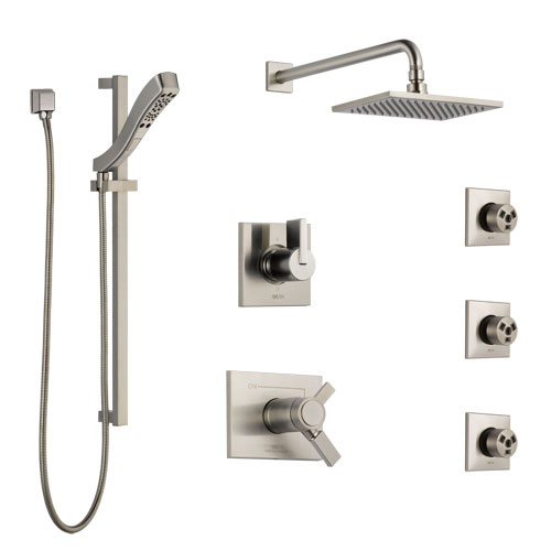Delta Vero Dual Thermostatic Control Stainless Steel Finish Shower System, 6-Setting Diverter, Showerhead, 3 Body Sprays, and Hand Shower SS17T2532SS5
