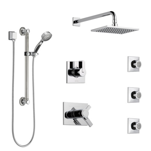 Delta Vero Chrome Shower System with Dual Thermostatic Control, Diverter, Showerhead, 3 Body Sprays, and Hand Shower with Grab Bar SS17T25331