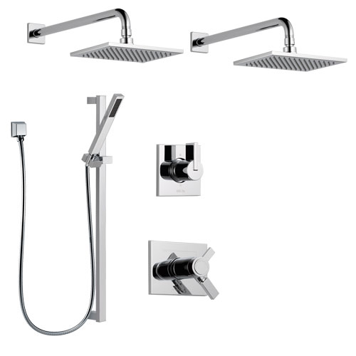 Delta Vero Chrome Finish Shower System with Dual Thermostatic Control Handle, 6-Setting Diverter, 2 Showerheads, Hand Shower with Slidebar SS17T25335