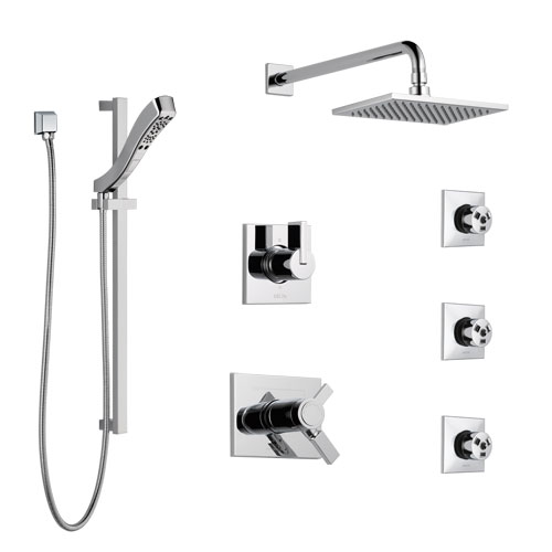 Delta Vero Chrome Shower System with Dual Thermostatic Control Handle, 6-Setting Diverter, Showerhead, 3 Body Sprays, and Hand Shower SS17T25342