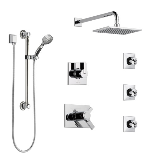 Delta Vero Chrome Shower System with Dual Thermostatic Control, Diverter, Showerhead, 3 Body Sprays, and Hand Shower with Grab Bar SS17T25343