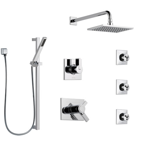 Delta Vero Chrome Shower System with Dual Thermostatic Control Handle, 6-Setting Diverter, Showerhead, 3 Body Sprays, and Hand Shower SS17T25346
