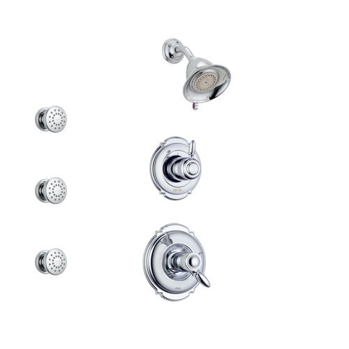 Delta Victorian Chrome Finish Shower System with Dual Thermostatic Control Handle, 3-Setting Diverter, Showerhead, and 3 Body Sprays SS17T25511